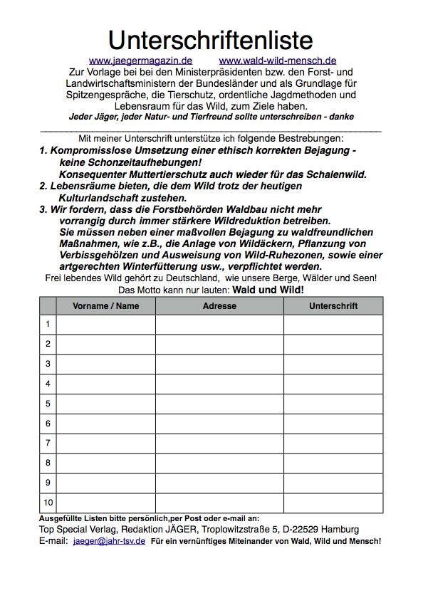 Unterschriftenliste Zur Ethisch Korrekten Bejagung Jager
