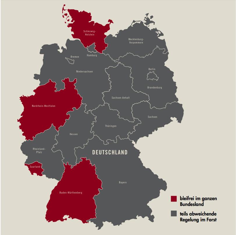 In Schleswig-Holstein, Nordrhein-Westfalen und ab 2016 auch in Baden-Wüttemberg ist bleihaltige Büchsenmunition vollständig verboten. In allen Bundesländern, außer in Thüringen, Bayern und Sachsen-Anhalt, muss im Staatsforst mittlerweile bleifrei geschossen werden. Gleiches gilt für den Schießnachweis, nur in Bayern, Niedersachsen und Sachsen- Anhalt finden sich noch staatliche Forstver- waltungen, die ihn nicht für notwendig halten. ©Philipp Refeld