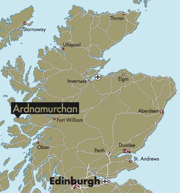 Lage des JÄGER-Testrevier in den Westhighlands, Schottland