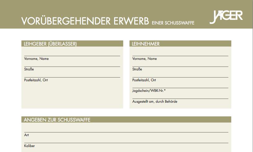 Formular Leihwaffe - Jäger