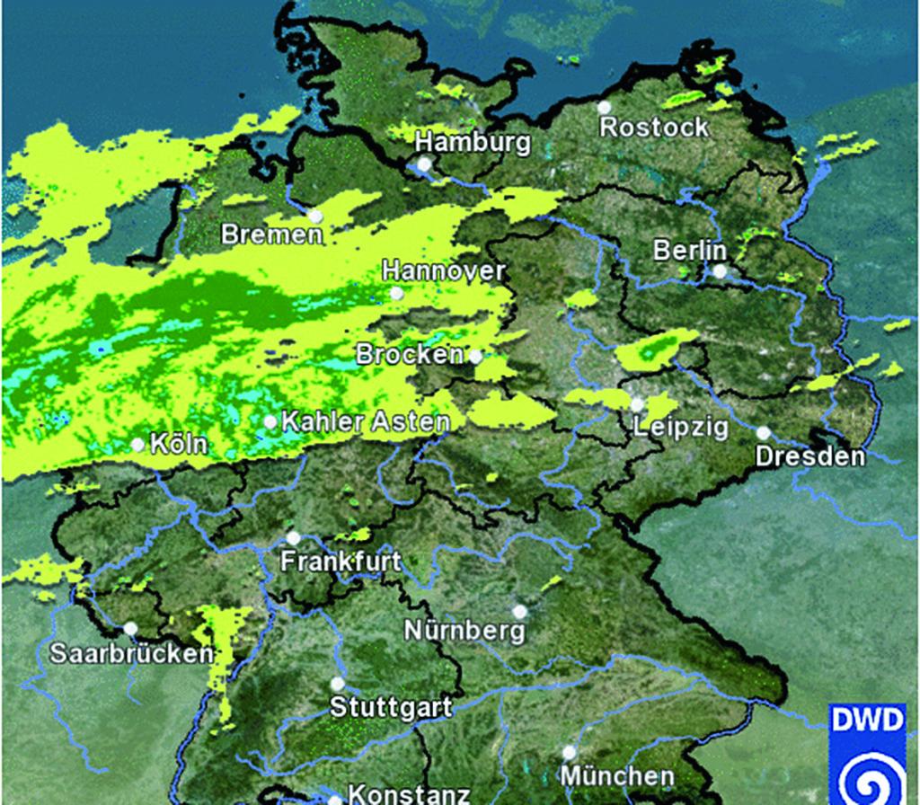 Regenradar: Ob und wann der Himmel seine Tore öffnet, lässt sich unter anderem beim Deutschen Wetterdienst einsehen. Und zwar kostenlos.