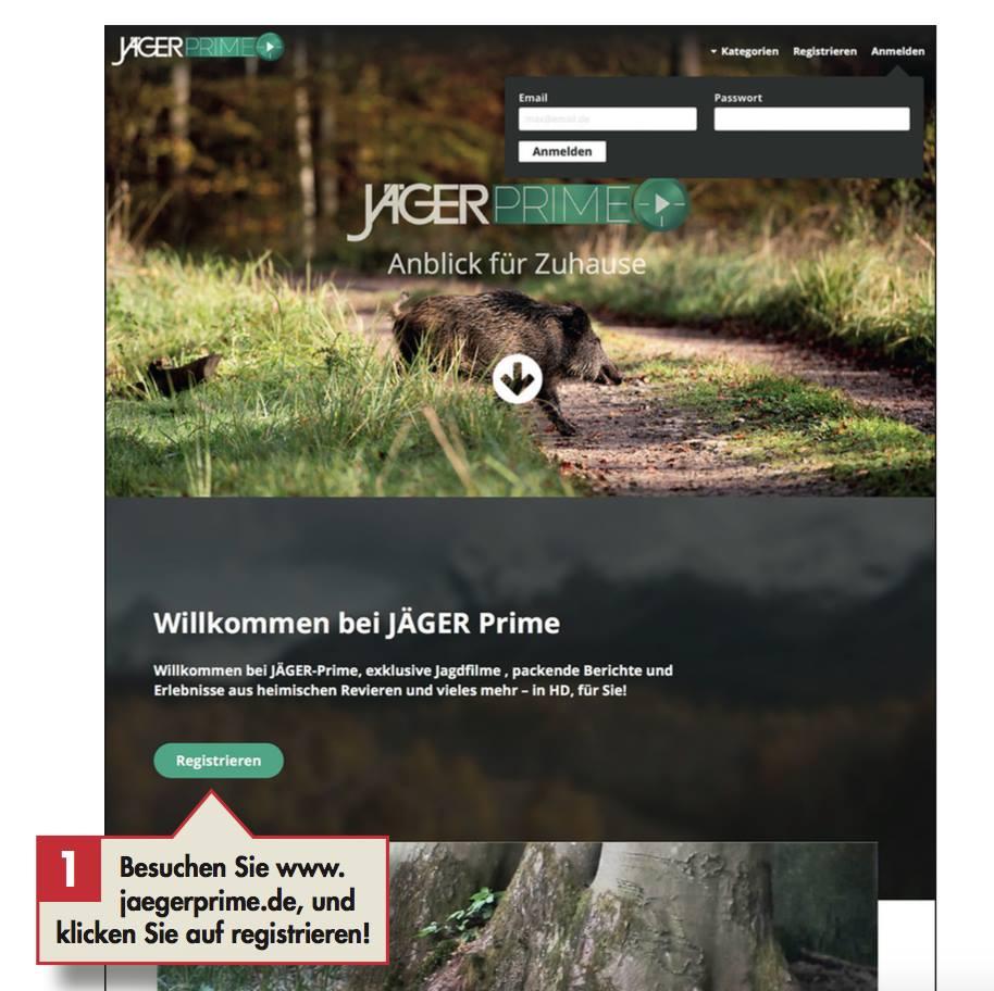 Schritt 1: Besuchen Sie www.jaegerprime.de und klicken Sie auf registrieren!