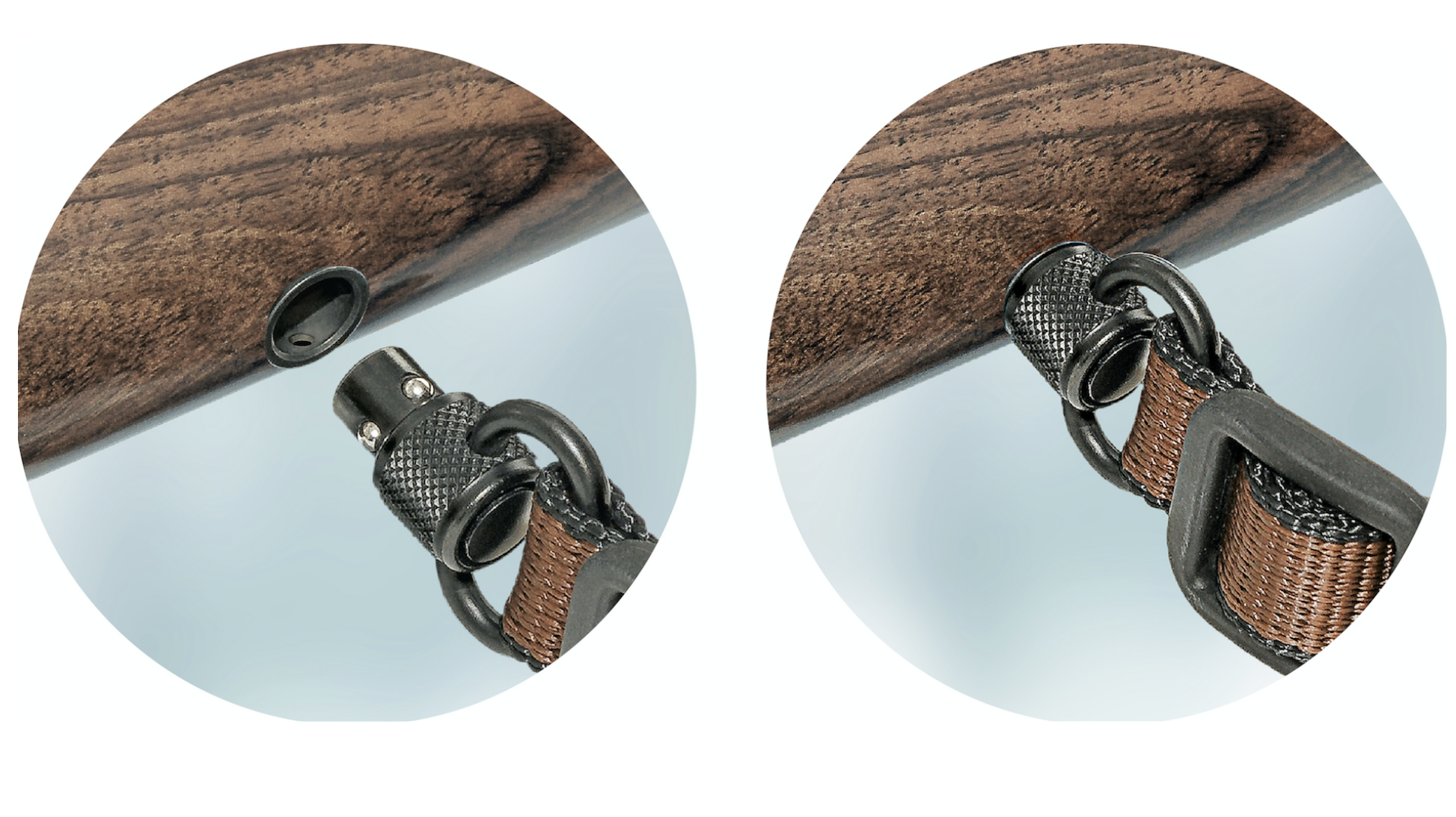 Riemenbügel und Aufnahmebuchse lassen sich auf Knopfdruck völlig lautlos verbinden und trennen. ©Halder