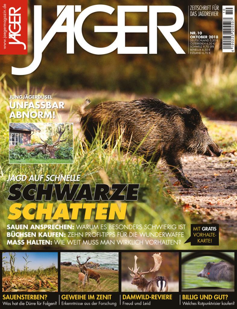 JÄGER Magazin Oktober 2018 Drückjagd Schwarze Schatten Damwild ASP