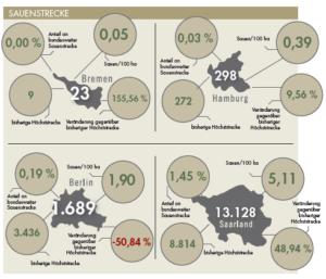 Die Sauenstrecke für die einzelnen Stadtstaaten im Jagdjahr 2019/20.