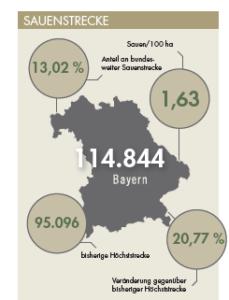 Sauenstrecke für Bayern im Jagdjahr 2019/20.