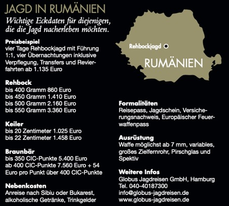 Die Eckdaten zur Bockjagd in Rumänien.